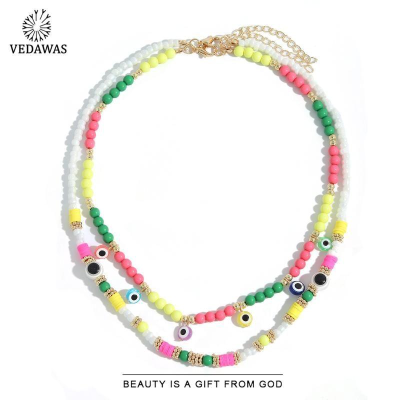 Vedawas estate etnico in silicone colorato occhi colorati collane per le donne layer layer layer handmade gioielli gioielli regali in stile girocolli