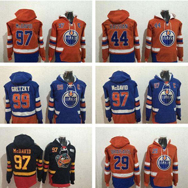 Edmonton Oilers Hockey 97 Connor McDavid 29 Leon Draiseaitl 44 Zack Kassian 99 Wayne Gretzky هوديي سترة الفانيلة
