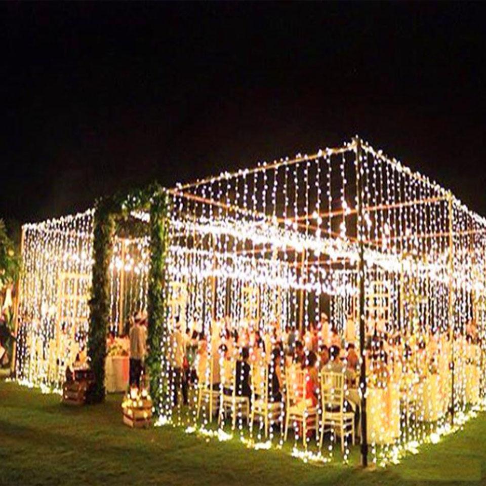 3 * 3M LED Carámbano Cortina de cadena Luz de hada 300 LEDS Lámpara de decoración de Navidad para boda Home Garden Fiesta de fiesta iluminación