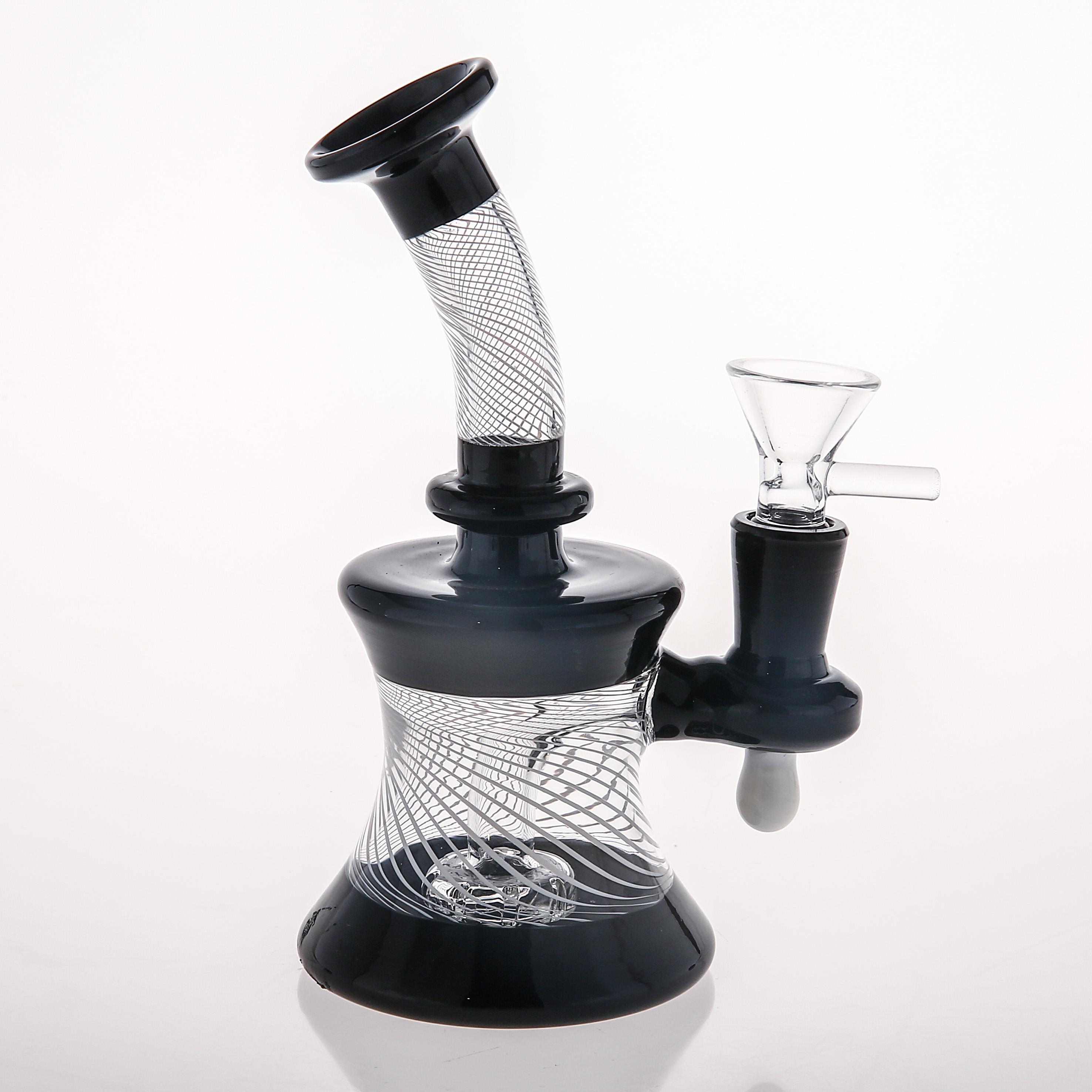 Stokta Cam Bongs Perclator Sigara Recycler Oil Parçaları Cam Bonglar PERC Randomll Ortak 14.4mm Gönderim Hazır Sigara İçilebilir Su Boruları Nargile 15-29 cm 14.4 ve 18.8mm