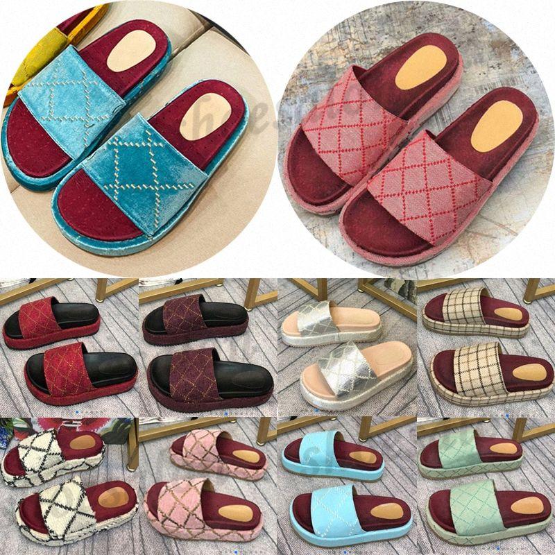 2021 Mujeres clásicas Sandalia Lady Slipper Plataforma Zapatillas Sandalias Diapositivas Cotton Cotton Summer Party Playa 5 cm zapatos de diseñador plano wi1jgo #