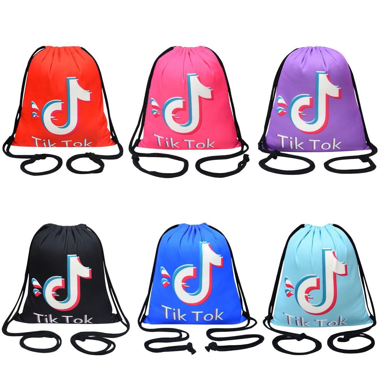 Tiktok CoulisString Bag Kids Backpack Pocket Rope Spalle Pocket Shopping Backpacks Formazione per ragazzi Girls Sports Borse 5 Colors
