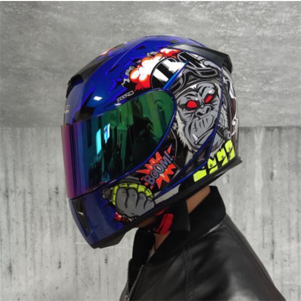 Casque de moto Jiekai Hommes et femmes Hiver Véhicule électrique chaud Four Seasons Universal Full Cover ANTI-BOG Double miroir
