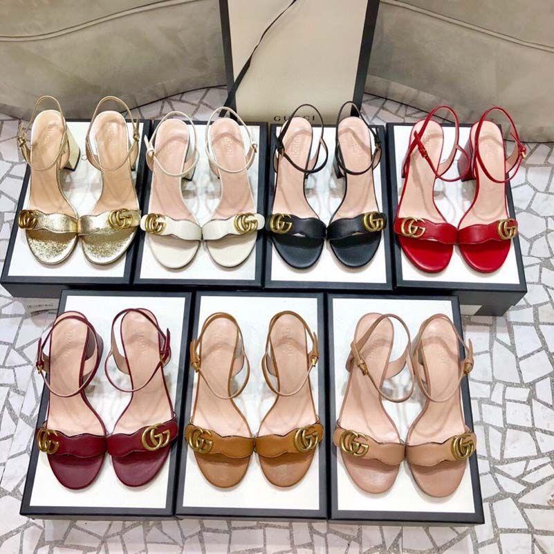 Tacones más calientes con caja de mujer zapatos de diseñador Sandalias de calidad Sandalias de talón altura 7 cm y sandalias de 5 cm zapatos planos zapatillas zapatillas por zapato10 01