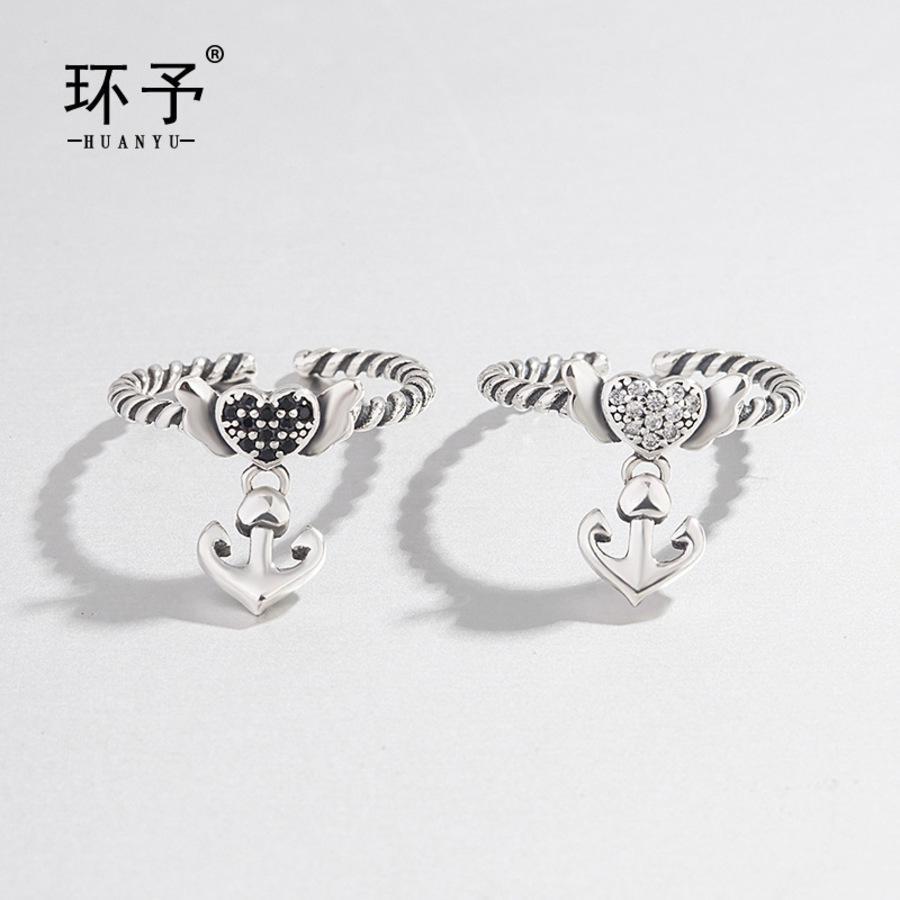Joyas japonesas y coreanas Anillo de compromiso de boda S925 S925 Pure Silver Abrir Heartwedding JewelsrySaped Anchor Alaid con diamante simple 3m4r