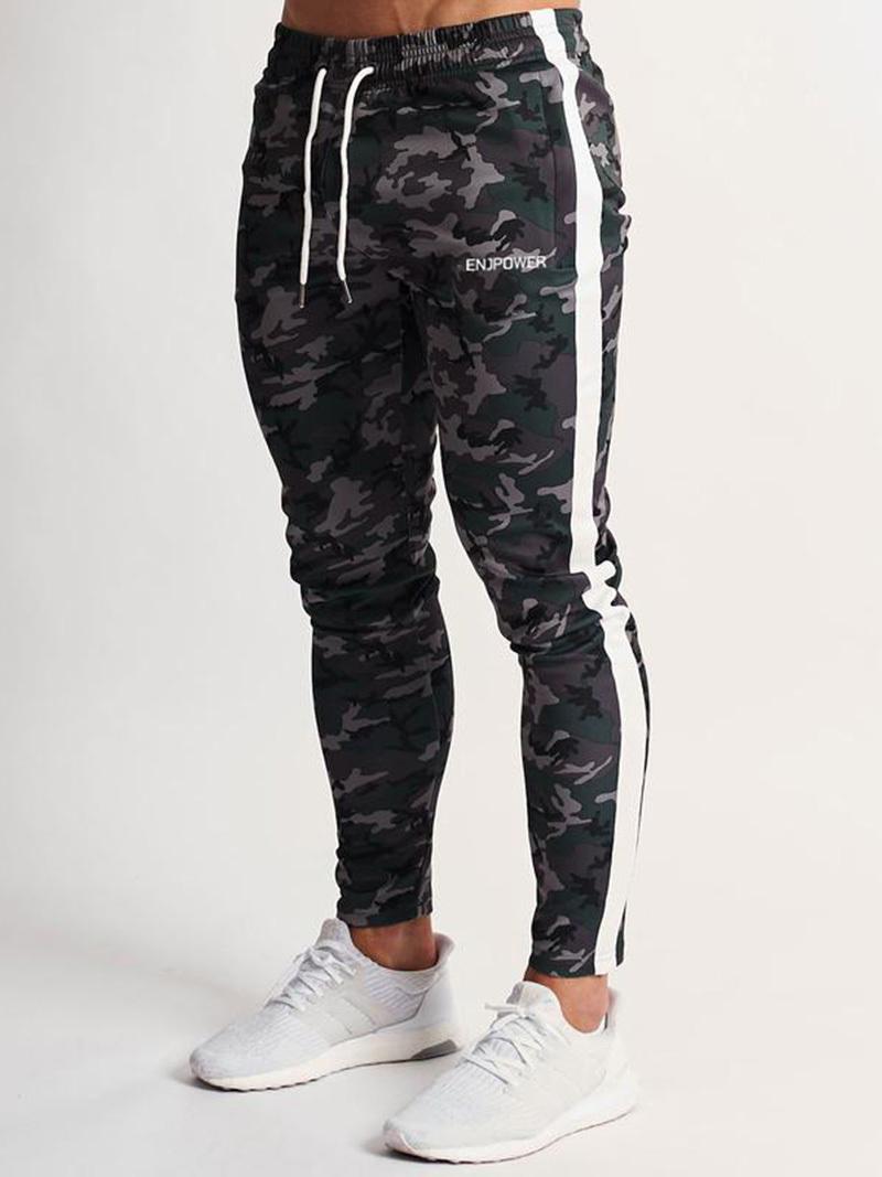 Caída e invierno Ocio para hombre Gimnasio Gimnasio Fitness Jogging Hombres costuras torcidas Navy Deportes Camuflaje Pantalones