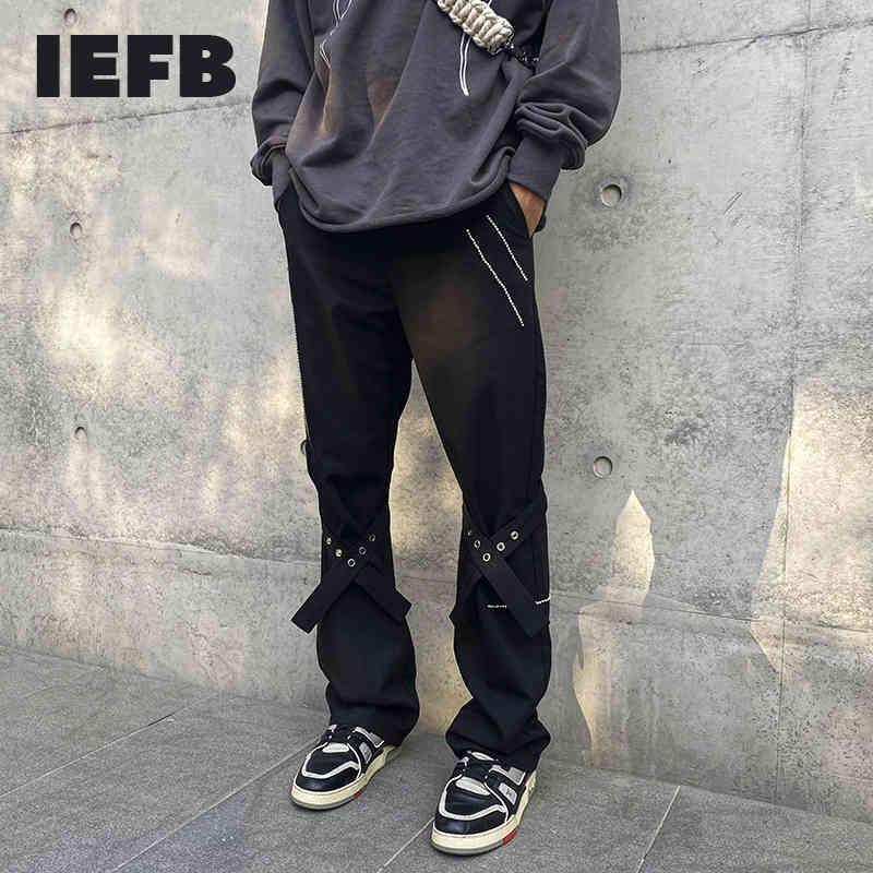 IEFB High Street Bandage Ribbon Straight Pants Drilling Overalls Loose Trumpet Trousers Men's Spring Clothes 9Y5726 210524