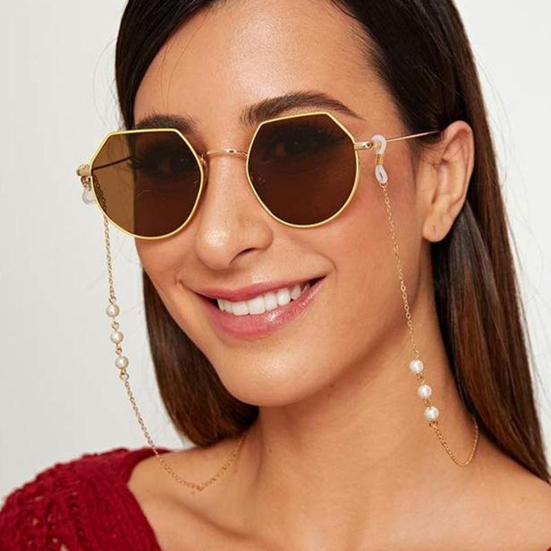 النساء مطرز النظارات اللؤلؤ النظارات حامل حزام النظارات الشمسية سلسلة سيليكون حلقات خارج العادية ملحق قلادة القلائد