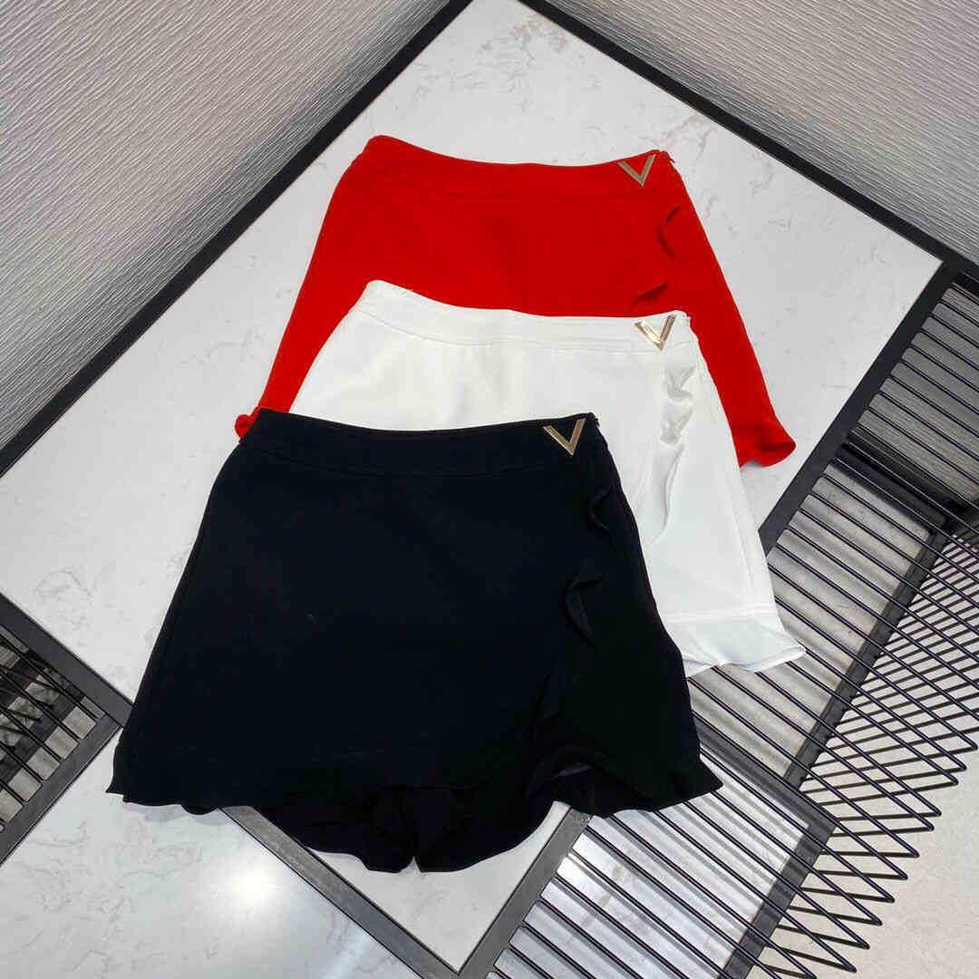 Damen Shorts Shorts High-End Luxus Runway Design Rock Frauen Rüschen Metall V Dekoration Reißverschluss Hohe Taille Süßkoreanische Kurzes S FNZ5