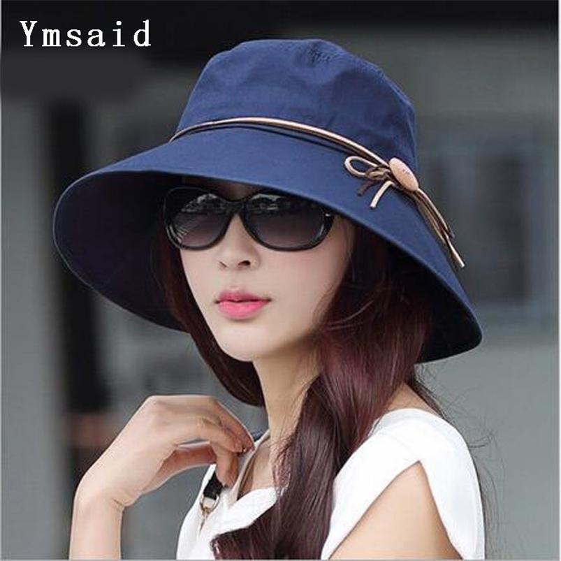 YMSAID verão mulheres amplo borda praia chapéu de sol moda chapeu feminino dobrável visor tampa anti-UV 210608