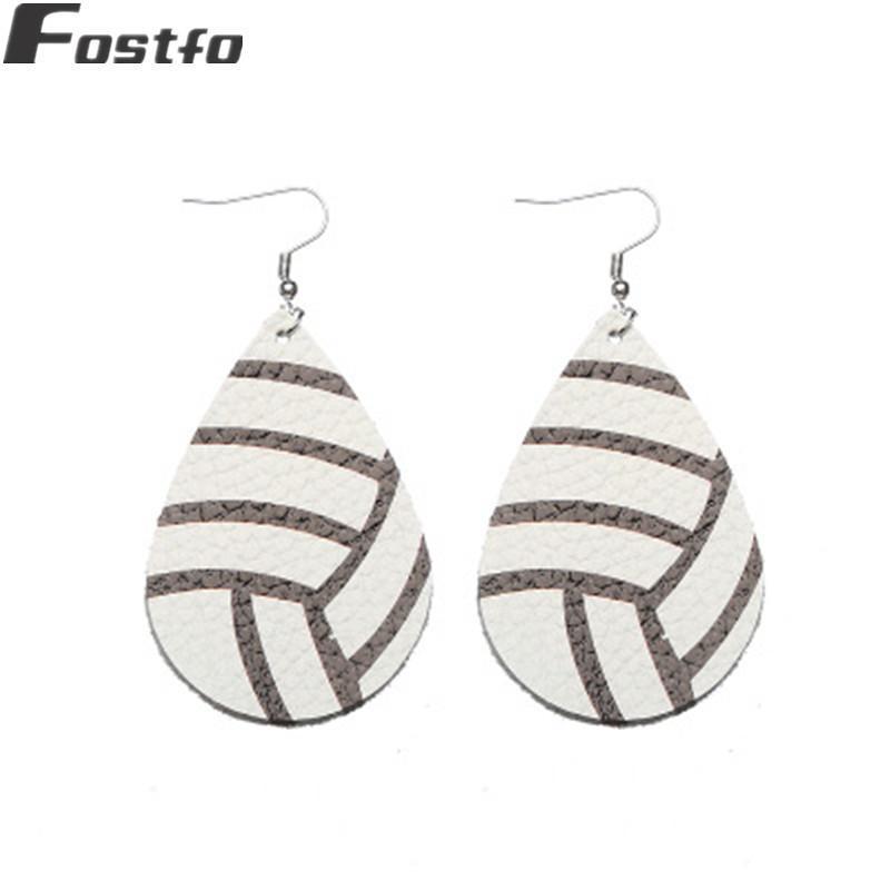 Fostfo Leather Print Pattern Softball Football Baskteball Drop Earrings For Women Big Teardrop Sports Ball Jewelry Dangle & Chandelier