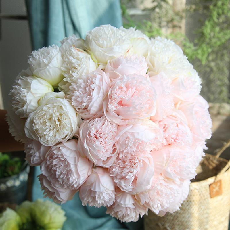 Decorative Flowers & Wreaths 5head/bouquet Peony Artificial Home Decor Silk Fake Flower Peonies For Wedding DIY Decoration