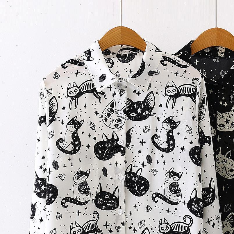Frauen Hemd Herbst Spring Hemden Schwarz Weiß Cartoon Katze Drucken Blusen Mode Slim Langarm Chiffon Weibliche Tops Blusas Mujer