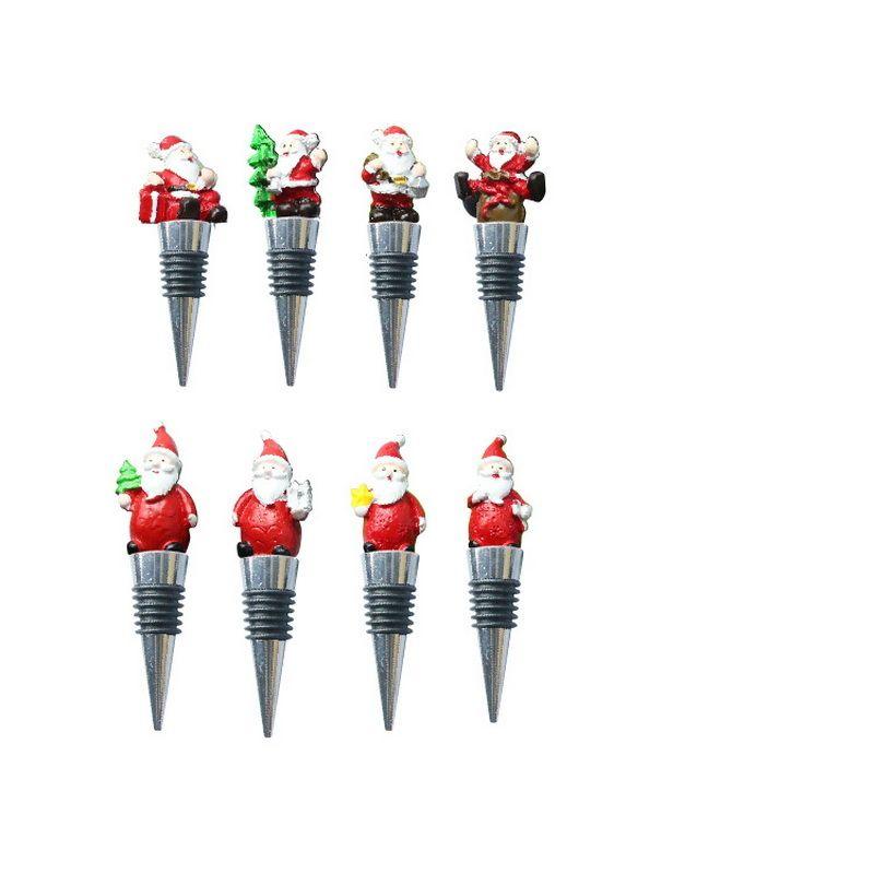 Bar Araçları Noel Baba Şarap Şişesi Depolama Büküm Kapak Tak Yeniden Kullanılabilir Vakum Mühürlü Şampanya Stoper