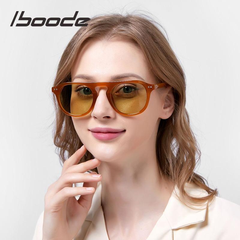 Iboode 2021 Marke Design Orange Runde Brille Rahmen Mode Frauen Männer Einzelstrahl Sonnenbrille Punk Reis Nagel Eyewear Frames1