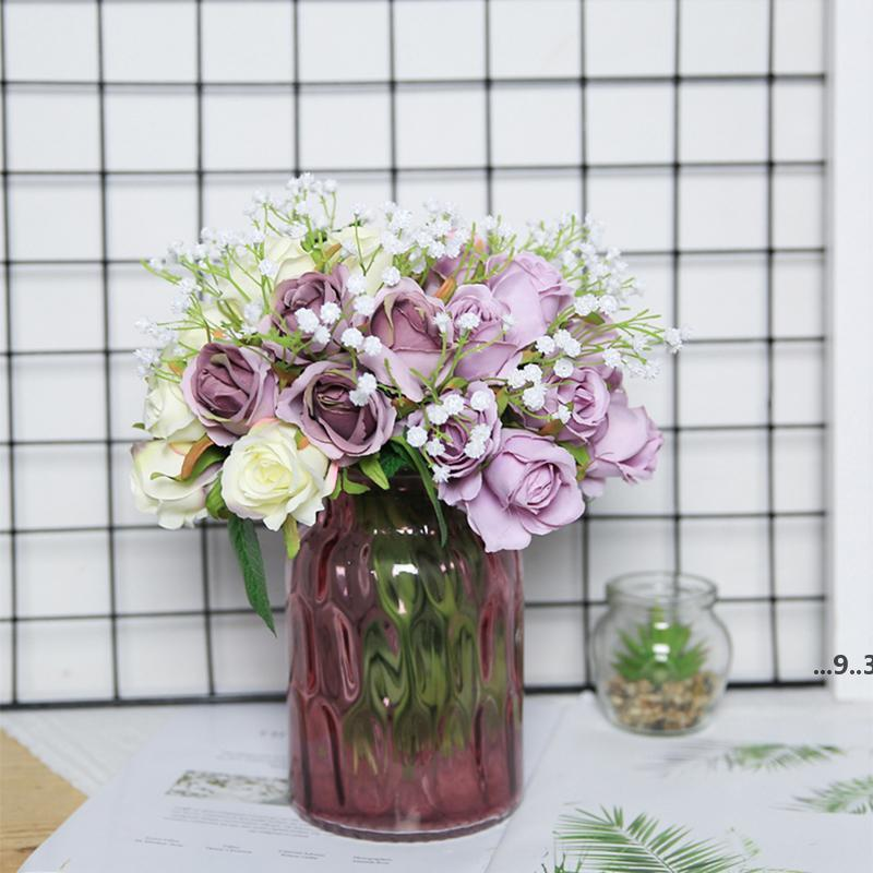 Yumai 12 رئيس الحرير الوردي روز الزهور باقة الاصطناعي العروس العروسة اليد الورود زهرة لحضور الزفاف المركزية الجدول ديكور EWE5295