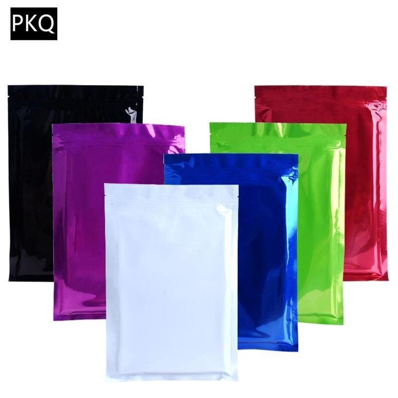Recipientes de armazenamento de salvadores de alimentos 100 pçs / lote 10 tamanhos de selo de vedação de calor sacos de alumínio folha mylar mylar netch zipper saco preto / branco w