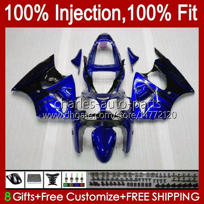 OEM Body For KAWASAKI NINJA ZX 636 600CC ZX-600 blue flames new ZX-6R ZX636 ZX6R 00 01 02 37HC.110 ZX 600 CC 6 R ZX 6R ZX600 Cowling ZX-636 2000 2001 2002 Injection Mold Fairing