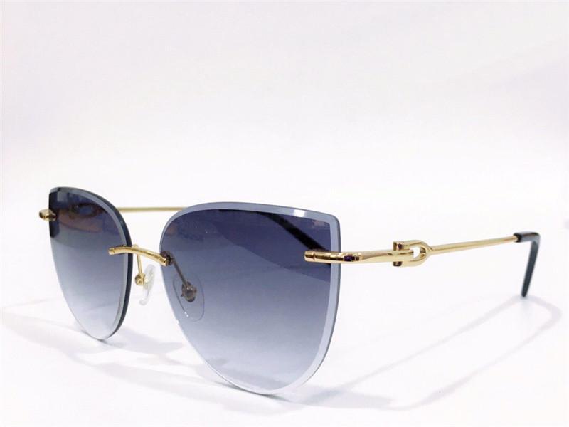 Selling fashion design sunglasses 0003RS frameless cat-eye frame metal temple simple avant-garde style uv400 protection eyewear