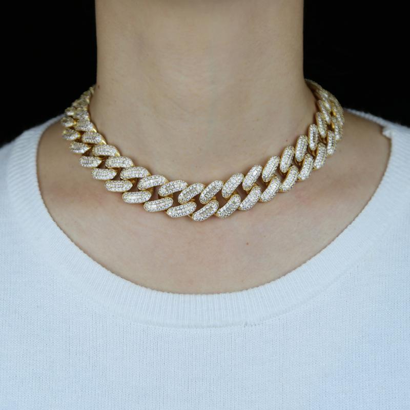 20 ملليمتر عريض سلسلة الكوبي قلادة لسيدة الهيب هوب مجوهرات الصخرة مع بلينغ تشيكوسلوفاكيا ستون معبدة لونغ ميامي النساء سلاسل