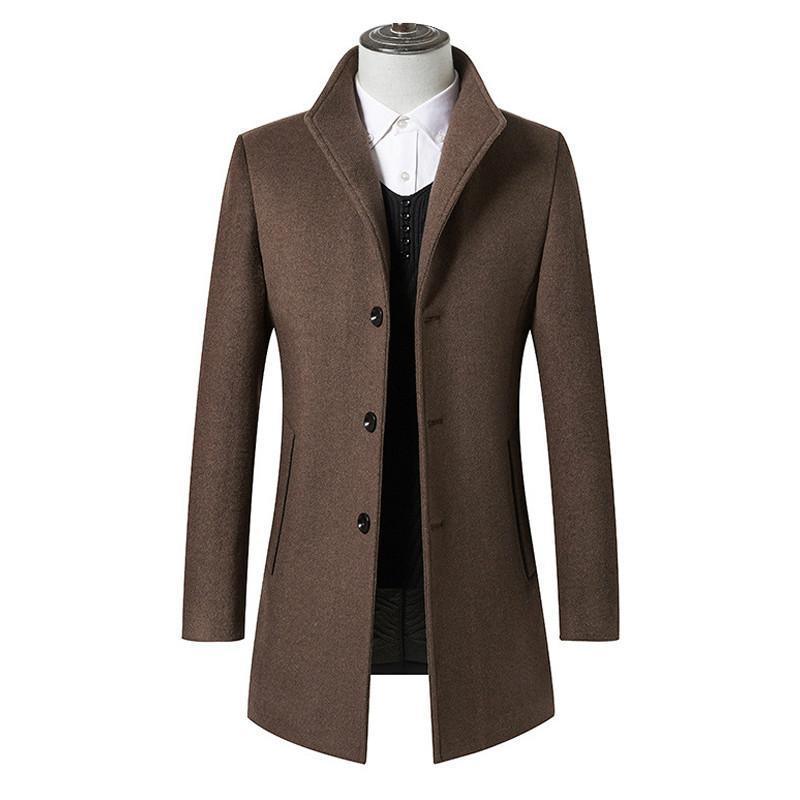 Moda casual casual espesando delgado ajuste para hombre abrigo de la marca de la marca de la ropa de los hombres agradable otoño marea marea larga lana chaqueta mezclas de hombres