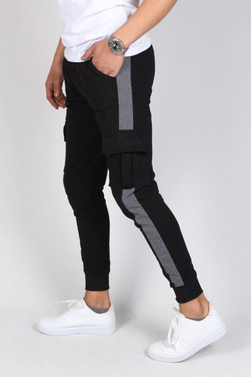 Men's Black Anthracite Listrado Carga Com Capuz Com Capuz MTSTL1084 Sleepwear