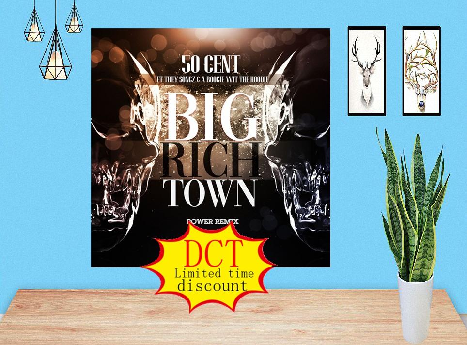 Gran ciudad rica (remix) 50 centavos feat. Trey Songz A Boogie Wit Da Hoodie Album Póster Rap Music Cover Silk Art Print