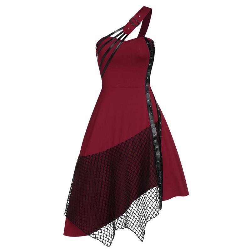 Une épaule sexy gothique rétro vintage robe robe crevée patchwork our de mailles irrégulier dentelle de dentelle de fête de fête punk jurken décontracté