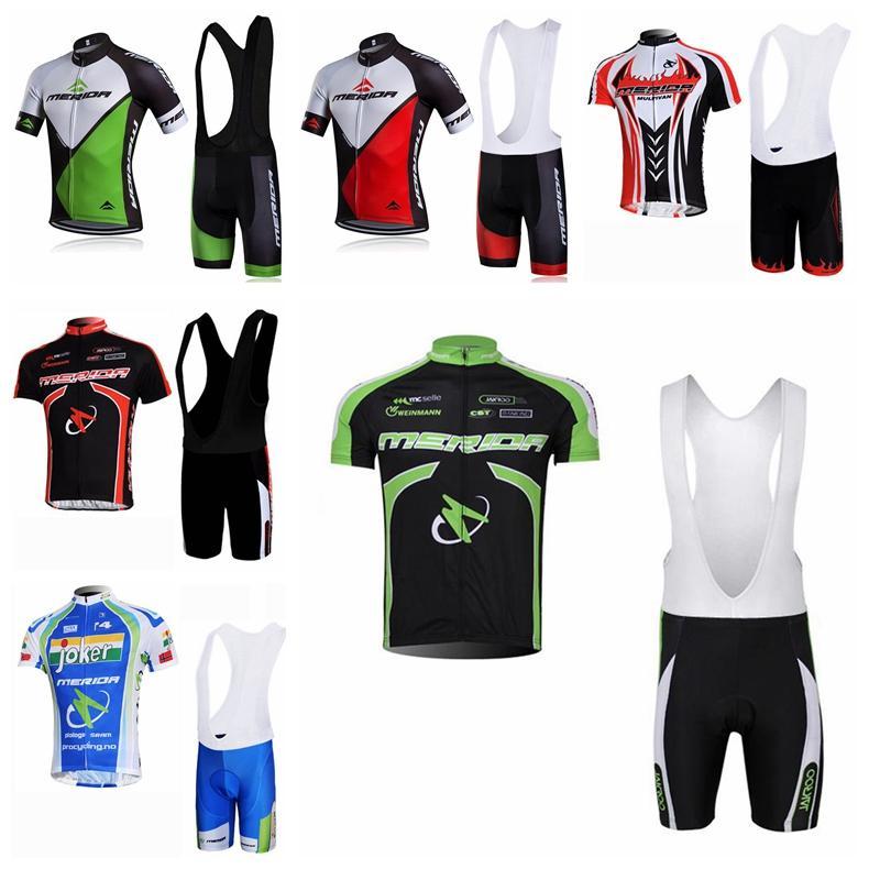 Merida equipe ciclismo mangas curtas jersey bib shorts conjunto verão homens roupas respirável Rápido seco ao ar livre mountain bike H70437