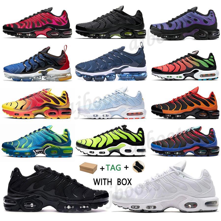 2021 TN Plus Correndo Tênis Verde Preto Branco Volt Glow Rainbow Hyper Pastel Azul Oreo Homens Mulheres Respirável Sneaker Trainer Outdoor Sport Fashion