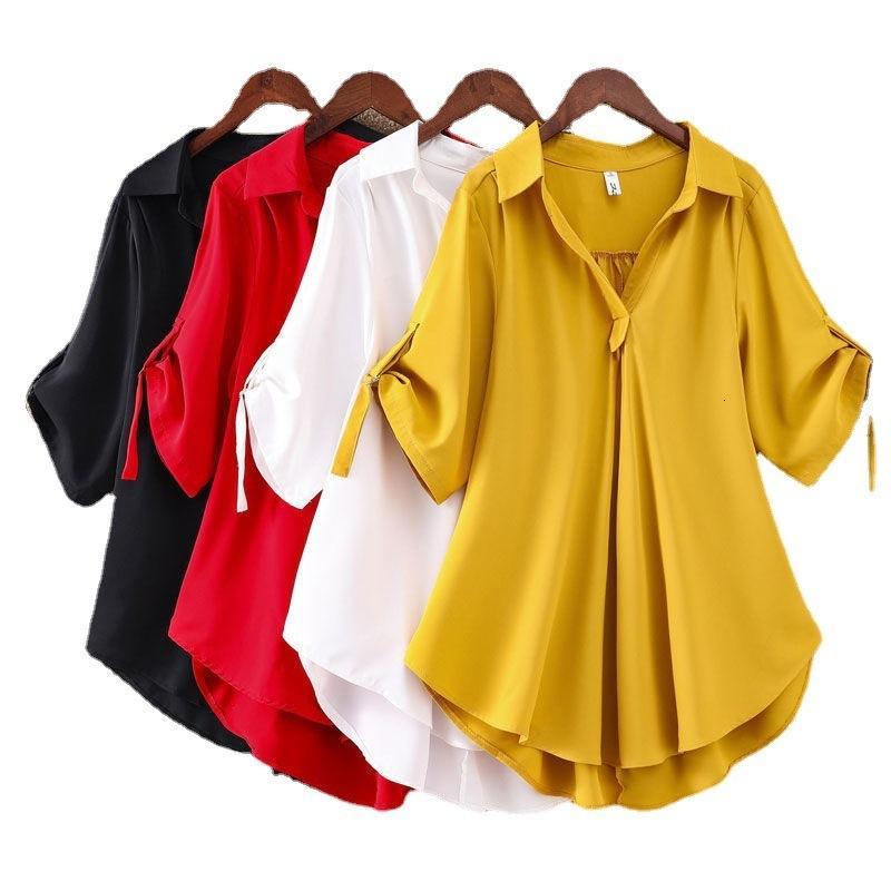 2021 Camisa de manga corta grande de color sólido de color sólido para mujer con cuello en V para mujer