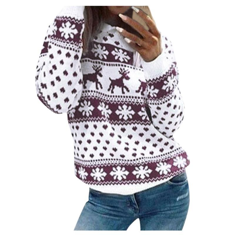 Женщины осень зима рождественские свитер дамы вязаный джемпер пуловер женские снежинки лось печать свитера # T2G женские