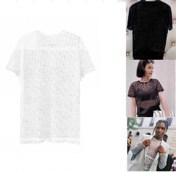 Frauen Blusen Hemden Abendkleidung Sommerhemden Frau Männer Freeze T-shirt Aushöhlen Schwarz Weiß Sheer Hip Hop T-Shirt Tragen Tech Fleece Polos Vogue Designer Brief