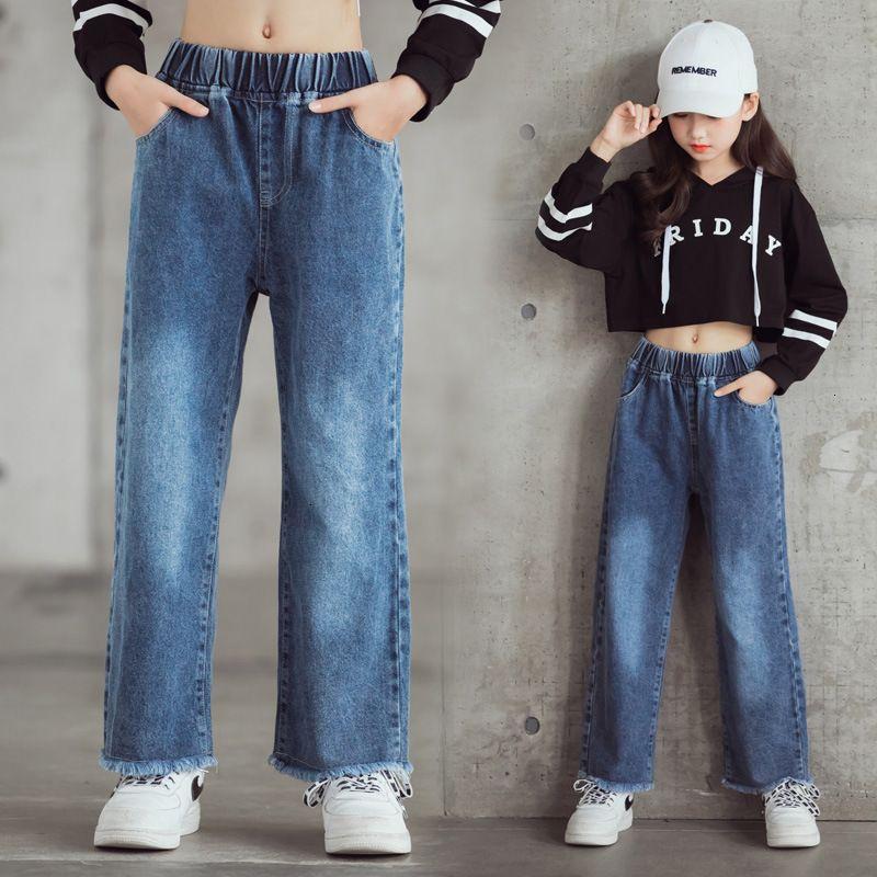Girls 'Jeans breite Beinhose weiche und modische beiläufige koreanische Version ausländischer Art lose Mittelschule Gerade Röhre Kinder