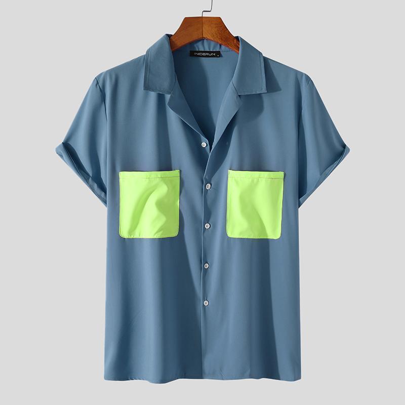 여름 짧은 소매 trun 아래로 칼라 버튼 블라우스 2021 패션 패치 워크 남성 셔츠 세련된 멀티 포켓 Camisa Incerun S-3XL 남자 캐주얼