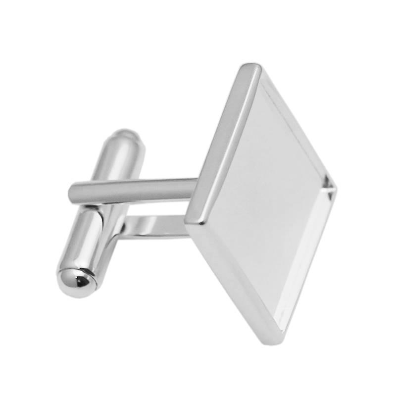 Sterling Square Po Cufflink Cabochon Setting Silver 925 Cuff Links Valentine Gift 30930