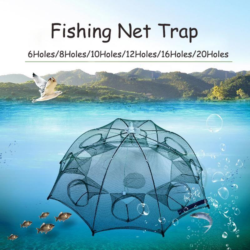 4-20 orificios de la pesca plegable automática de la pesca del camarón de la jaula de nylon cangrejo plegable de la trampa de la trampa de la trampa de los accesorios Pesca