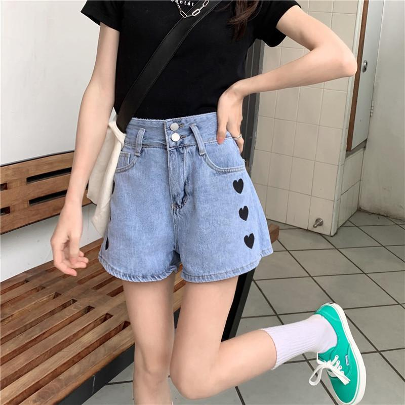 Pantalones cortos para mujer de moda coreano cintura delgada mujeres demin harajuku forma de corazón estampado ancho pierna recto corto verano casual sólido jean
