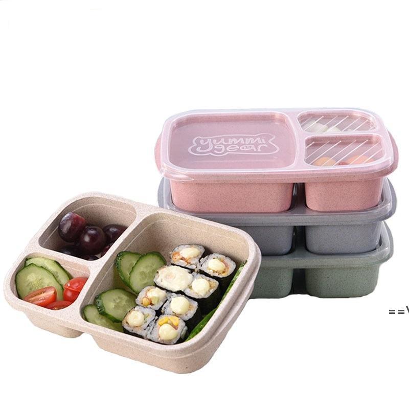 Boîtes à lunch à 3 grilles avec couvercle micro-ondes Food Fruit Boîte de rangement Sortez Conteneur Portable Stockage des aliments Boîte à lunch HHB10153