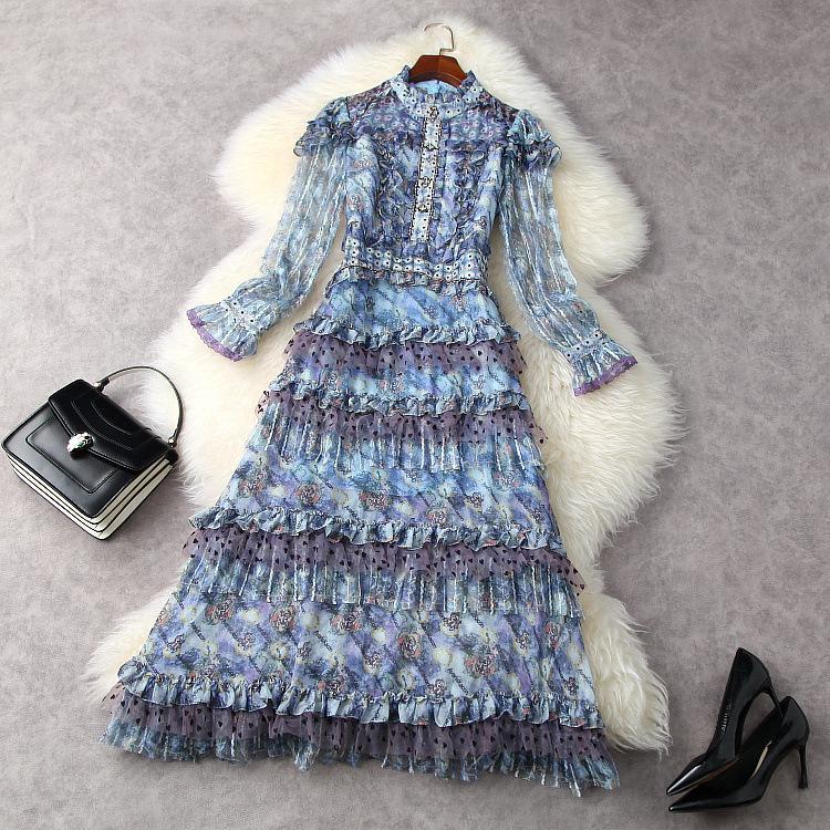유럽 및 미국 여성 의류 봄 2021 새로운 긴 소매 스탠드 칼라 네일 구슬 인쇄 스플케이션 레이스 패션 드레스