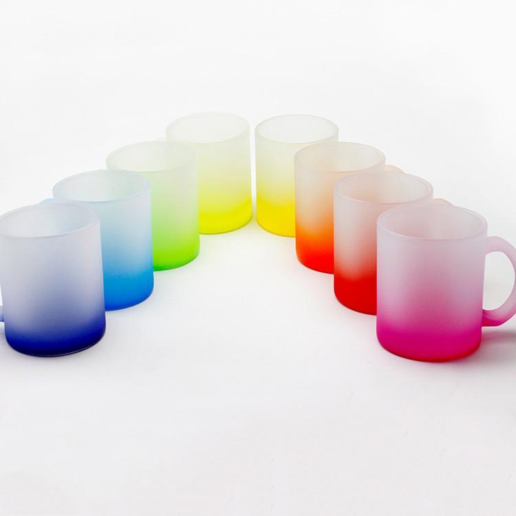 12 oz sublimation de sublimation personnalisée mug fluorescent verre givré glaçonné gobelets tasses chaleur transfert eau tasse d'eau créative bricolage cadeau lt20