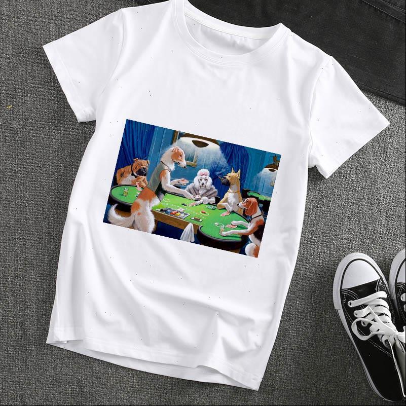 Frauen T-shirt Lustige Hunde Spielkarten Gedruckt Spoof Graphics Harajuku Tshirt Femme Mode Lässig Weibliche Tops Kleidung