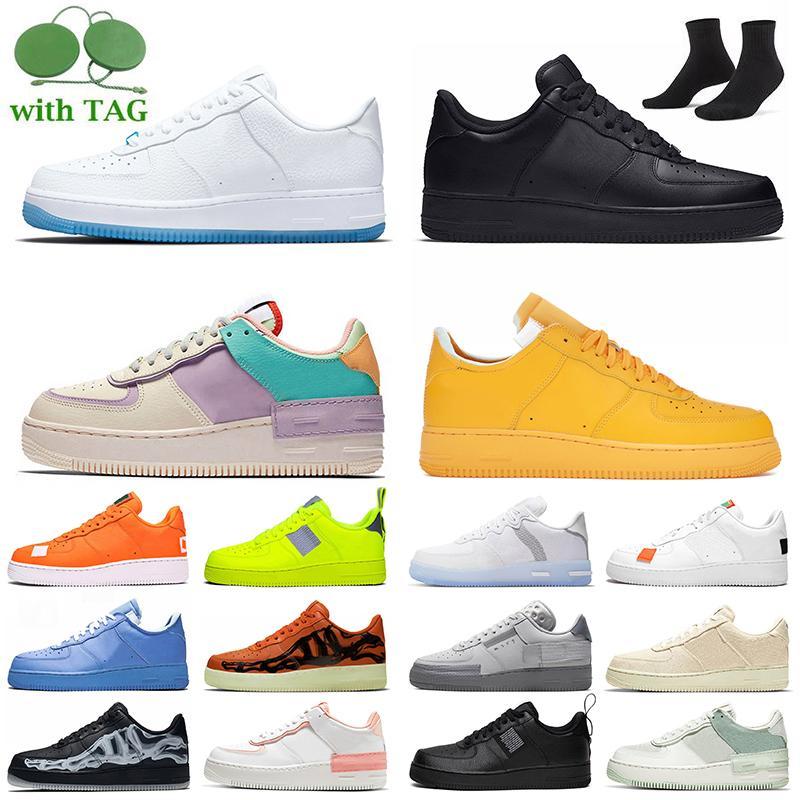 Nike Air мужские женские кроссовки 1 Черный просто белый низкий MCA синий утилита вольт красный один мужские кроссовки платформа мода скейтборд кроссовки