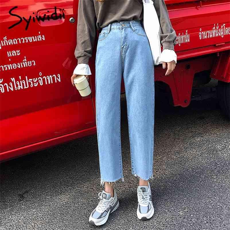 SkyBlue Mamãe Jeans Mulheres Cintura Alta Denim Calças Vintage Tassel Lavado Harem Calças Casuais Branco Preto Plus Size Namorado Jean 210322