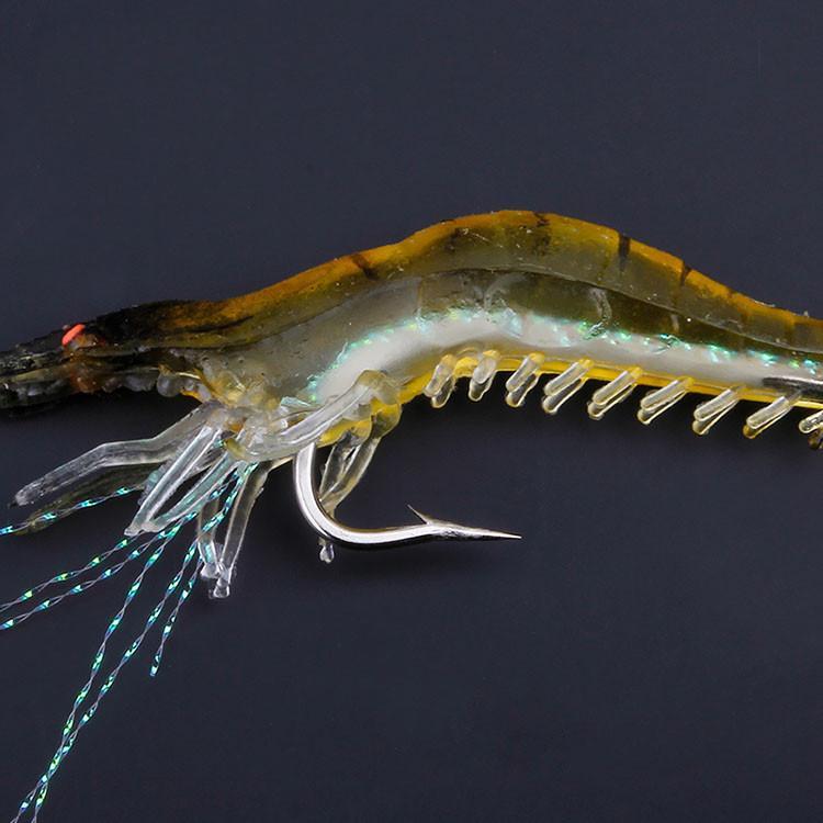Alta simulação isca isca macia com gancho falso camarão falso isca biônica shrim pendurado camarão