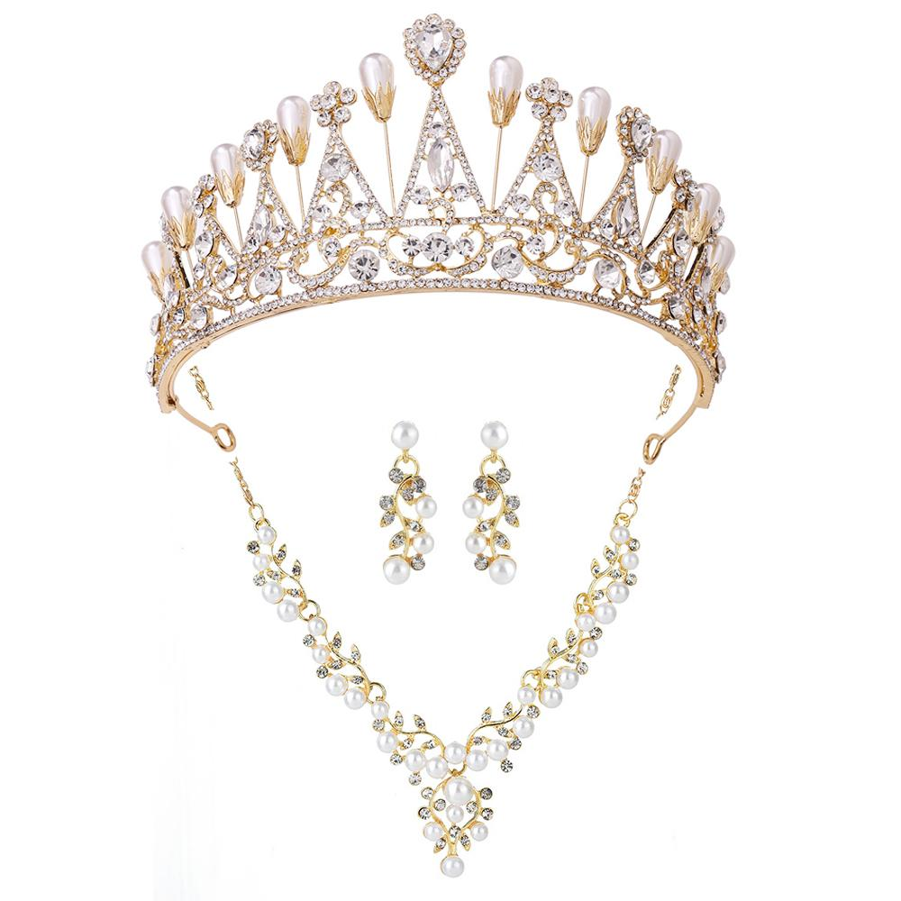 Bridal wedding headpieces Baroque pearls Crown necklace earrings set Party dinner dress jewelry Ladies birthday gift studio props box packaging