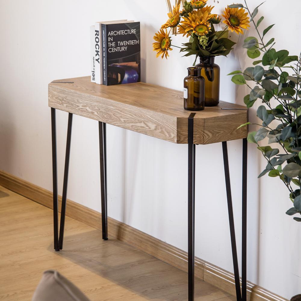 WACO 42-дюймовый консольный диван боковой стол ввода гостиной книжная полка, Morden случайные входные акцентные столы- коричневый деревянный зерно