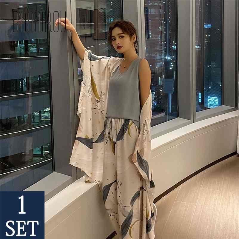 Bannirou Gedruckt Pyjamas für Frauen Sets Herbst Pyjamas Set 100% Viskose Nachtwäsche Weibliche Nacht Anzüge Pyjamas Sets 4 Stück 210325