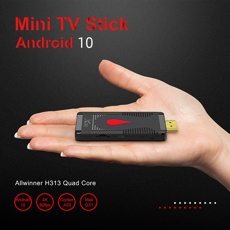 X96 S400 TV Stick H313 Android 10.0 صناديق رباعية النواة 2 جيجابايت 16 جيجابايت 4K Wifi Remote Google Assistant دعم