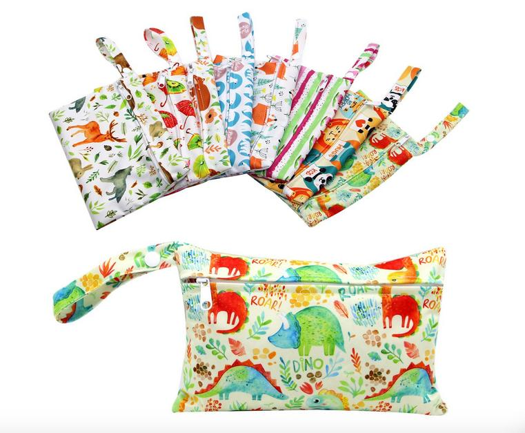 YifashionBaby 10pcs / pack Borsa per cuscinetti sanitari riutilizzabili, borsa per lavanderia impermeabile piccolo organizer piccolo sacchetto 15 cm x 19 cm